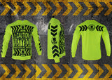 RUSTYBOAR Long Sleeve SAFETY GREEN CAUTION T-Shirt