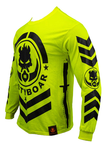 RUSTYBOAR Long Sleeve SAFETY GREEN HI-VIZ ARMY T-Shirt