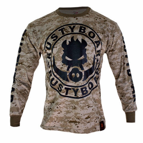 RUSTYBOAR Long Sleeve Desert Digital Camo Logo T-Shirt