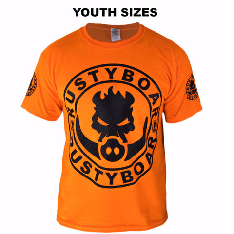 RUSTYBOAR Youth Short Sleeve SAFETY ORANGE Logo T-Shirt