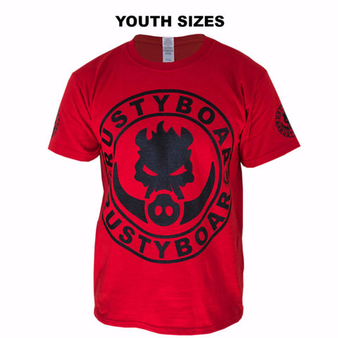 RUSTYBOAR Youth Short Sleeve RED Logo T-Shirt