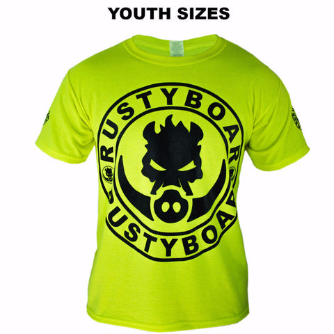 RUSTYBOAR Youth Short Sleeve SAFETY GREEN Logo T-Shirt