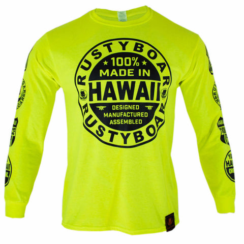 RUSTYBOAR Long Sleeve SAFETY GREEN Nutrition T-Shirt