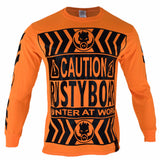 RUSTYBOAR Long Sleeve SAFETY ORANGE CAUTION T-Shirt