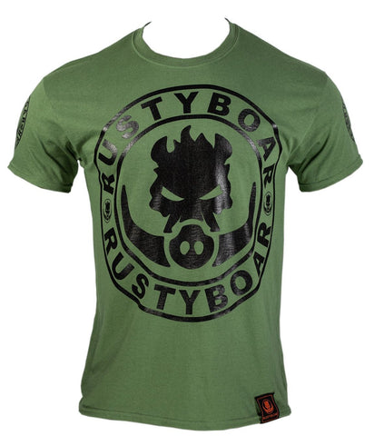 RUSTYBOAR OLIVE DRAB GREEN Short Sleeve Logo T-Shirt