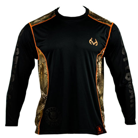 Realtree RUSTYBOAR Black on Black Xtra Camo Long Sleeve Dri Fit Shirt