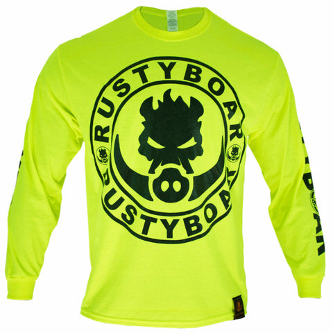 RUSTYBOAR Long Sleeve SAFETY GREEN Logo T-Shirt