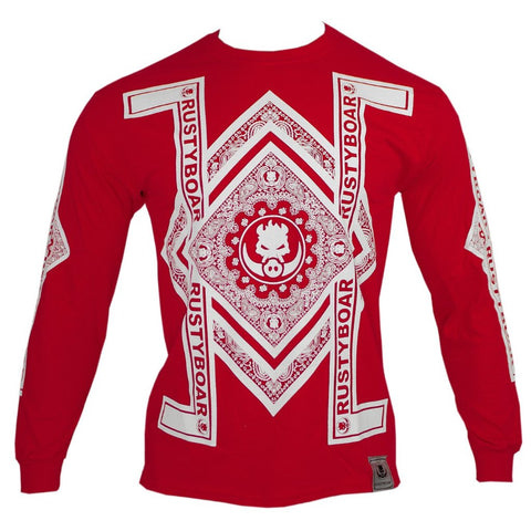 RUSTYBOAR Long Sleeve RED Bandana T-Shirt