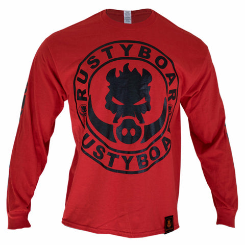 RUSTYBOAR Long Sleeve RED Logo T-Shirt