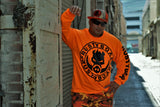RUSTYBOAR Long Sleeve SAFETY ORANGE Logo T-Shirt