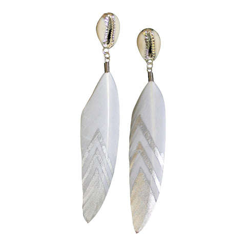 Blessed Be - Cowrie Feather earrings