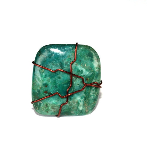 California Dreamin'- Chrysocolla Wire Wrapped Ring