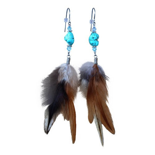 Beach Babies - Feather & Howlite Earrings