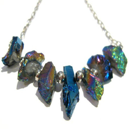 Peacock Princess - Rainbow Titanium Quartz Necklace
