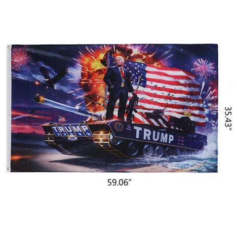 TRUMP 2020 Flag Keep America Great TRUMP Riding A Tank