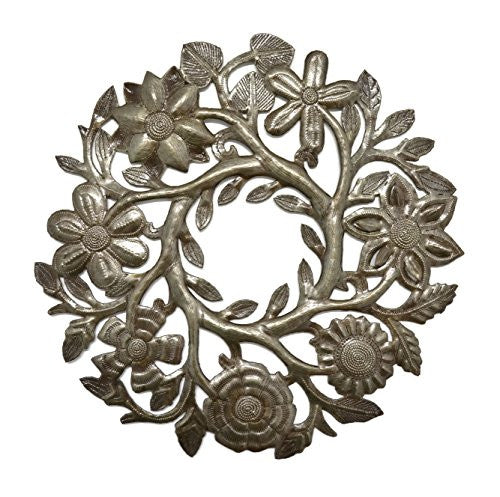 Small Floral Wreath Drum Sculpture Haitian Metal Art 14