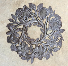 "Small Floral Wreath Drum Sculpture Haitian Metal Art 14"" X 14"""