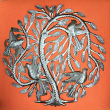 "Leaving the Nest Garden Tree of Life, Haitian Metal Art, Steel Drum, Outdoor, Indoor Decor 15"" X 15"""