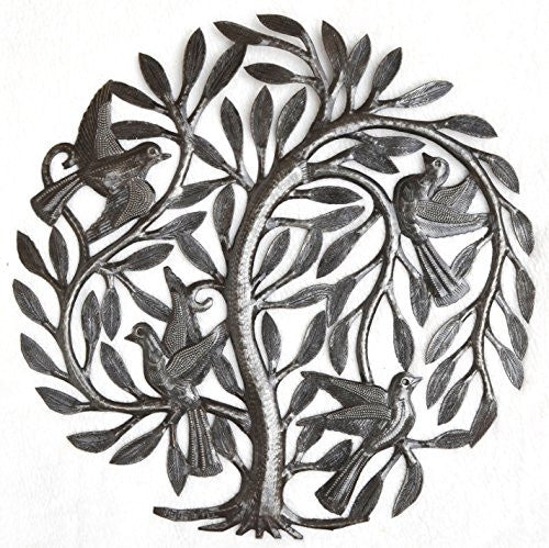 Leaving the Nest Garden Tree of Life, Haitian Metal Art, Steel Drum, Outdoor, Indoor Decor 15