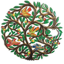 Tree of Life with Birds and Berries- Painted - 24 inch - Haitian Metal Drum Art