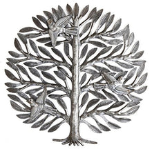 "Family Tree, Haitian Drum Art, Metal Tree Wall Decor, Tree of Life, 15"" X 15"""