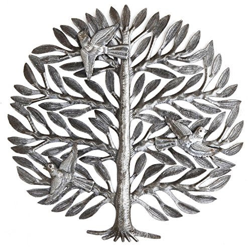 Family Tree, Haitian Drum Art, Metal Tree Wall Decor, Tree of Life, 15