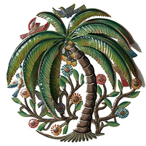 3D Coconut Palm with Birds and Flowers - Antique - Haitian Metal Drum Art (18 inch)