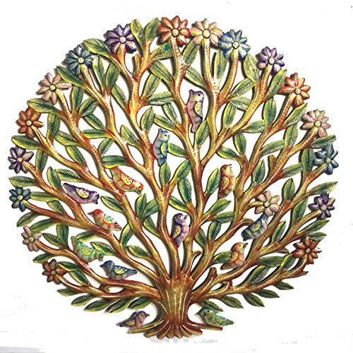 Tree of Life with Finches and Flowers - Antique - 24 inch - Haitian Metal Drum Art (24 inch)