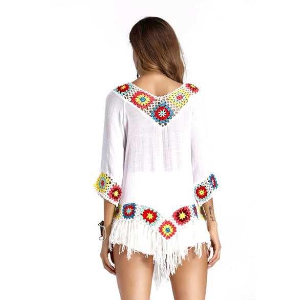 Boho Crochet Embroidered Tassels Blouse Top