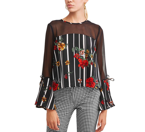 Whimsical Floral Printed Sheer Bell Sleeve Top