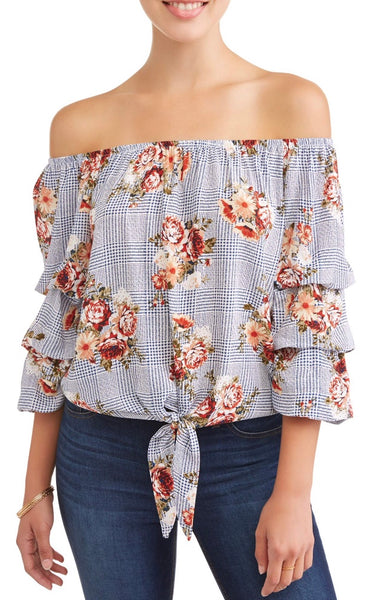 Fun Floral Tiered Ruffle Sleeve Off-the-Shoulder Blouse
