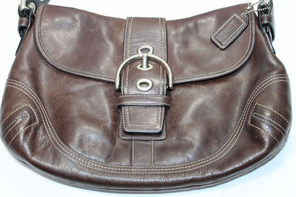 AUTHENTIC COACH Leather Brown Soho Buckle Flap Shoulder Bag