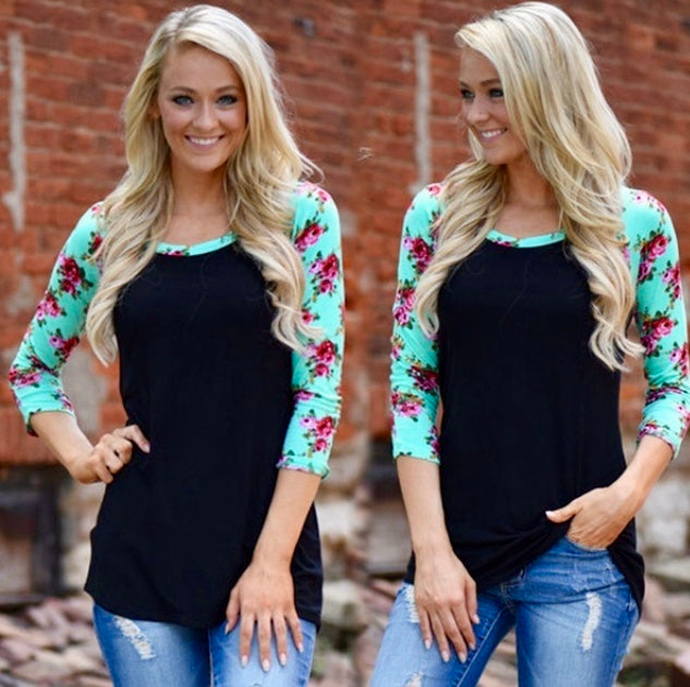 Fall Top with Long Floral Print Sleeves