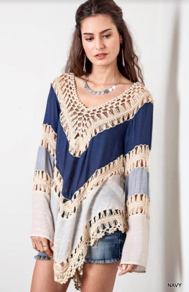 Boho V-neck Crochet Knitted Tunic Top