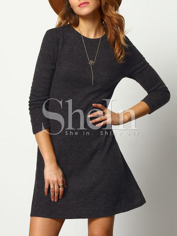 SHEIN Crew Neck Casual Sweater Dress