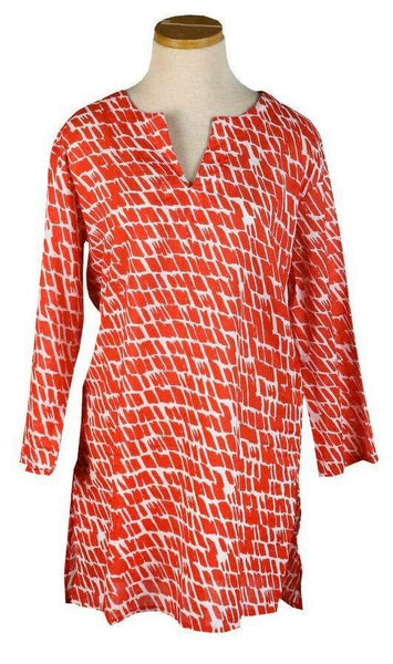 KikiSol Papaya Paintbrush Tunic Top