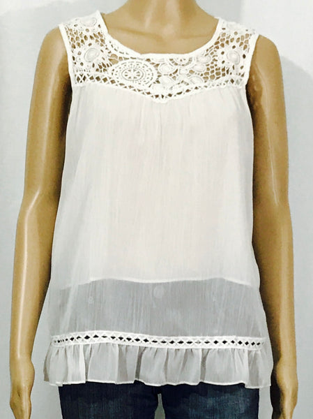 Summer Chiffon & Lace White Top