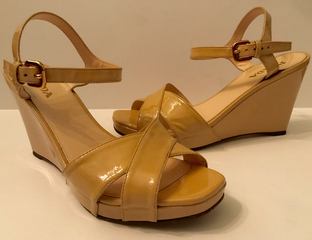 Authentic PRADA Sport Nude Patent Leather Wedges