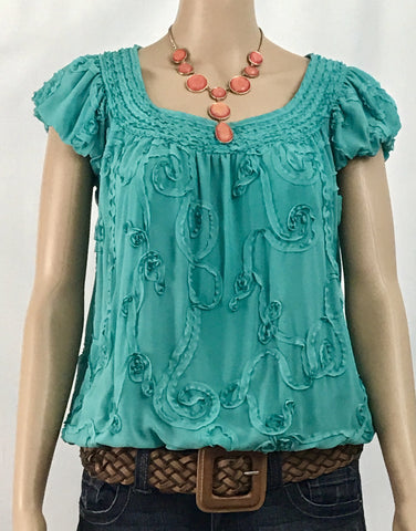 Studio M Soutache-Lined Blouson Aqua Blouse