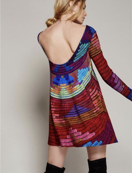 Fun Retro Backless Colorful Mini-Dress