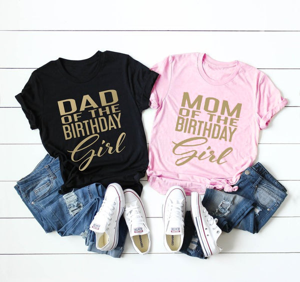 Mom of the Birthday Girl T-Shirt Casual Summer Dad of the birthday girl tops hipster summer unisex graphic goth tee shirts