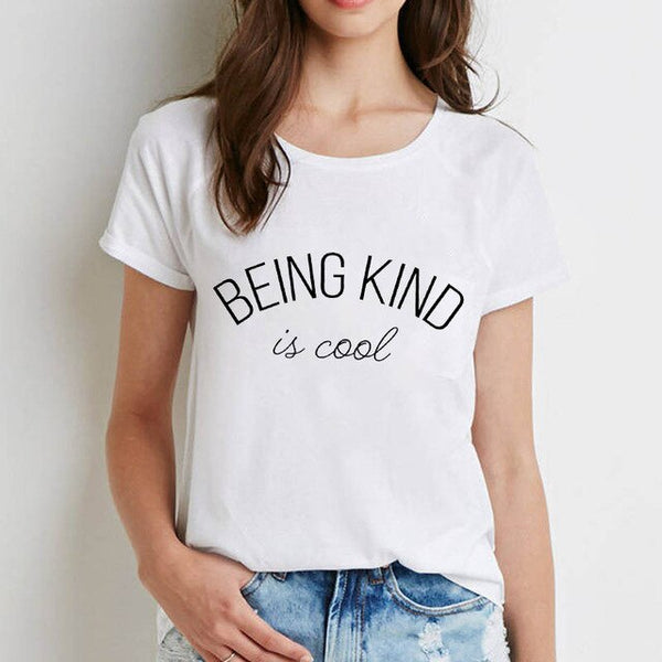 Women Printed Tshirts Being Kind Is Cool Cartoon Letter Tee Casual Tshirt Ladies Female Woman Clothes T-shirt  Short Sleeve Tops