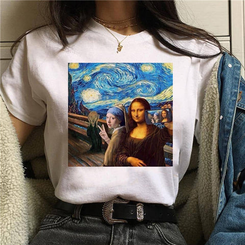 Summer New Mona Lisa Aesthetic Harajuku T Shirt Ullzang Vintage Graphic T-shirt Funny 90s Tshirt Korean Style Top Tees Women