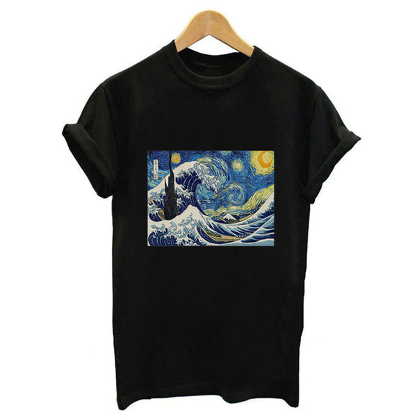 New Harajuku Ocean Wave Printed Pink T-shirt Japanese Art Ukiyoe Aesthetic Clothes Summer Simple Fashion Streetwear Tees Tops