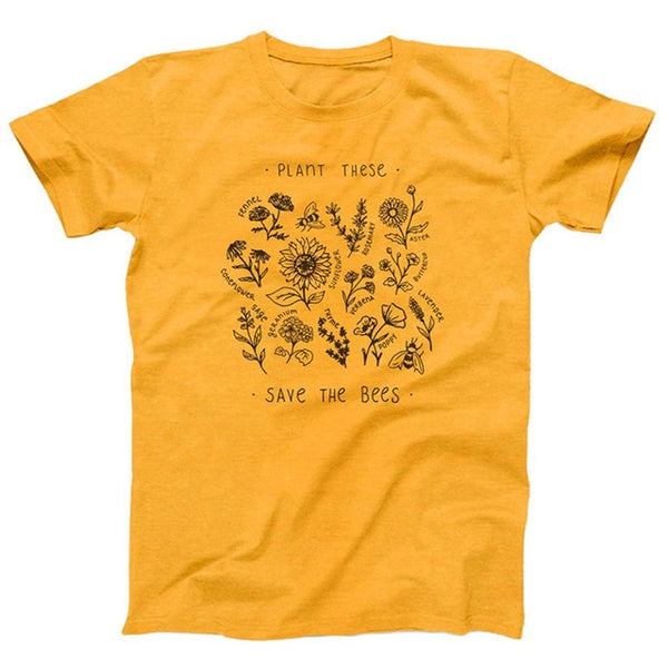 Drop Shipping Plant These SAVE The Bees Harajuku T shirt Women Causal Tshirt Cotton Wildflower Graphic Tees Woman Unisex Clothes