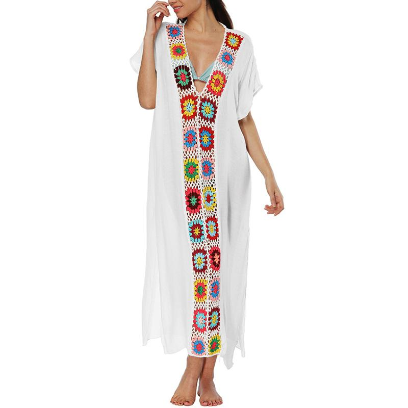 Women Blouse Cardigan Ethnic Style Embroidered Beach Dress Sexy Deep V-neck Short Sleeve Bikini Cover Ups Swimsuit High Waist
