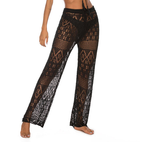 High Waist  Out Wide Leg Sexy Swimsuit Clubwear Women Pants Drawstring Bikini Cover Up Crochet Knitted Long Trousers Party