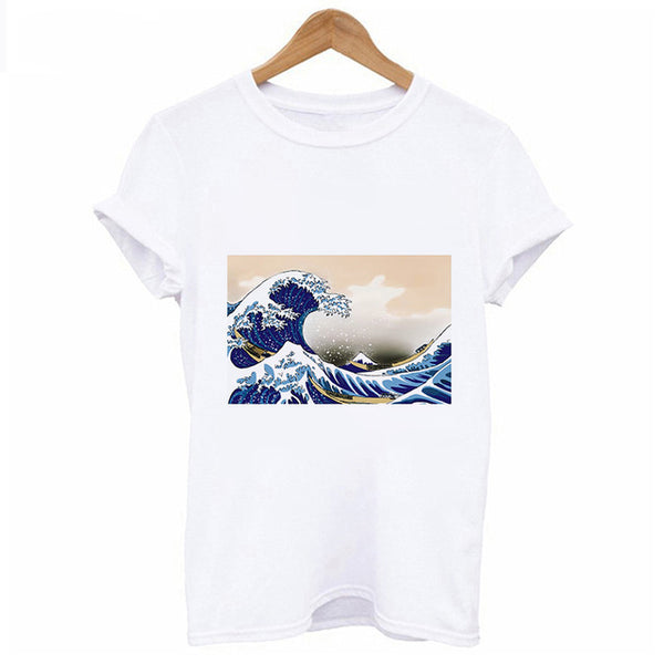 New Summer T Shirt Women spoof Surf starry sky Printed Harajuku funny T-shirt aesthetics Hipster Thin section tops Korean Tshirt