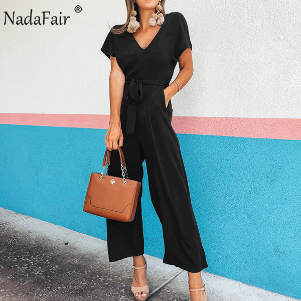 Nadafair Short Sleeve Casual Jumpsuits Women V Neck Belt Lace Up Office Summer Rompers Women Jumpsuits Overalls Long Pants