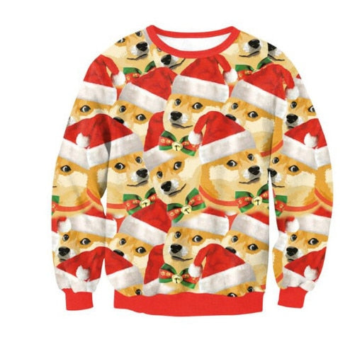 New Unisex Men Women 2019 Ugly Christmas Sweater For Holidays Santa Elf Christmas Printed Novelty Autumn Winter Blouses Clothing